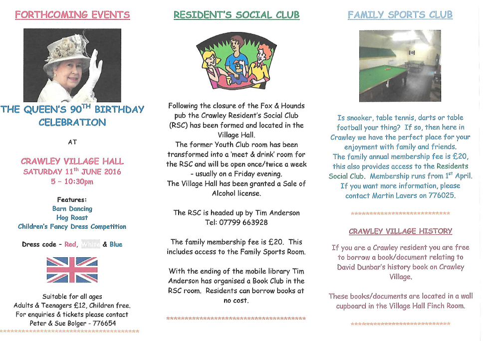 Crawley Village Hall Newsletter - Spring 2016