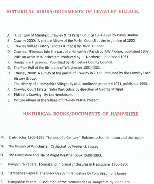 Historical books and documents of Crawley Village